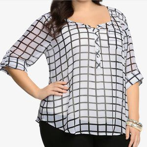 Torrid Plaid Check Chiffon Pullover Top